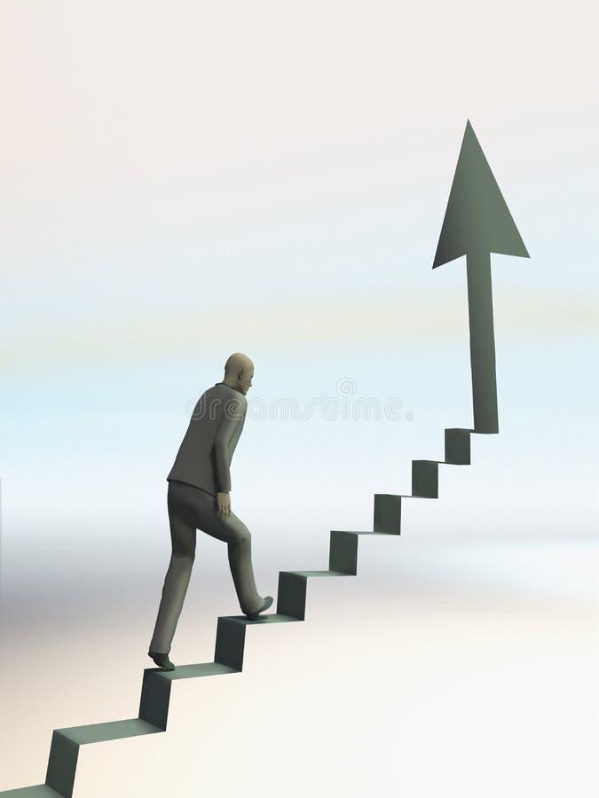 Mężczyzna wspina się up schodek ilustracji