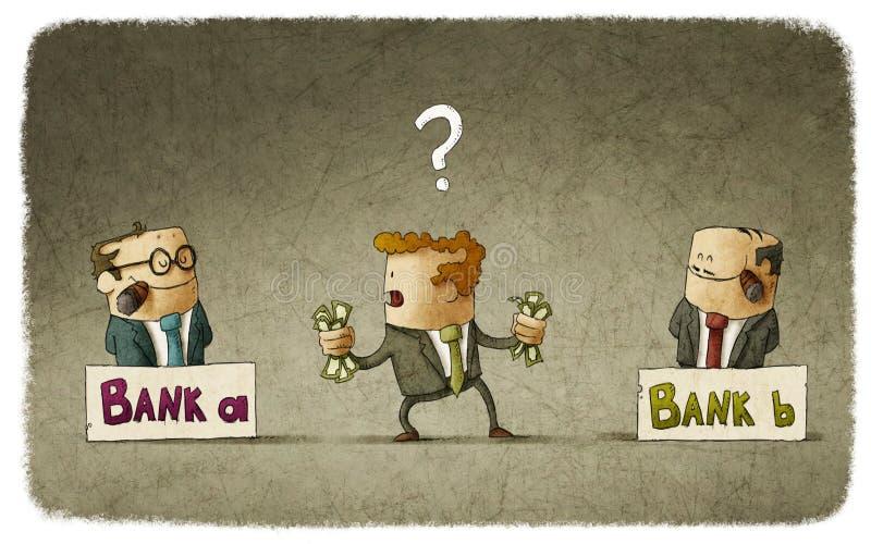 Mężczyzna wybiera bankowa royalty ilustracja