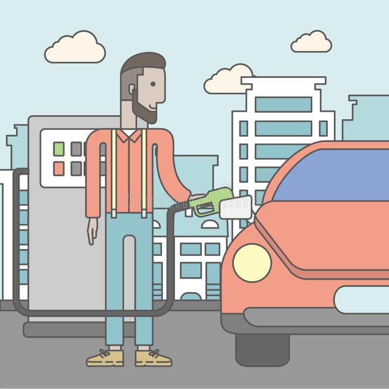 Mężczyzna wypełnia w górę paliwa w samochód ilustracja wektor
