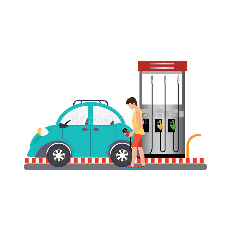 Mężczyzna wypełnia w górę paliwa w samochód przy benzynową pompą royalty ilustracja