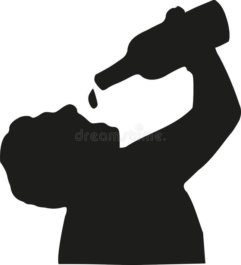Mężczyzna wypełniający piwo w on sylwetka ilustracja wektor