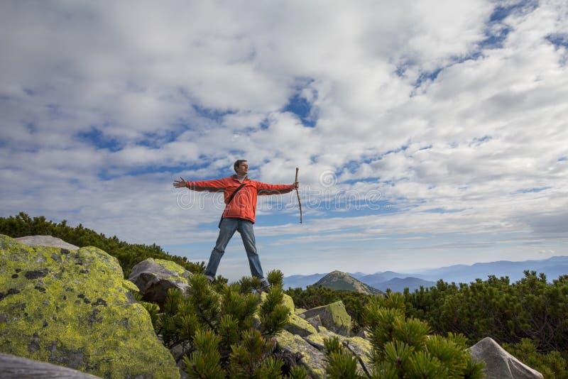 Mężczyzna wyraża zachwyt pozycja na wierzchołku góra zdjęcia royalty free