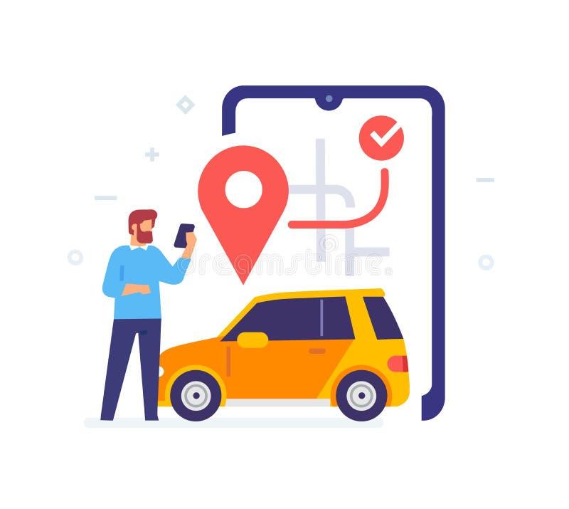 Mężczyzna wywołuje taksówkę przez ikonę aplikacji, ilustracja Media społecznościowe interfejsu użytkownika dla tabletów Smartphon ilustracja wektor