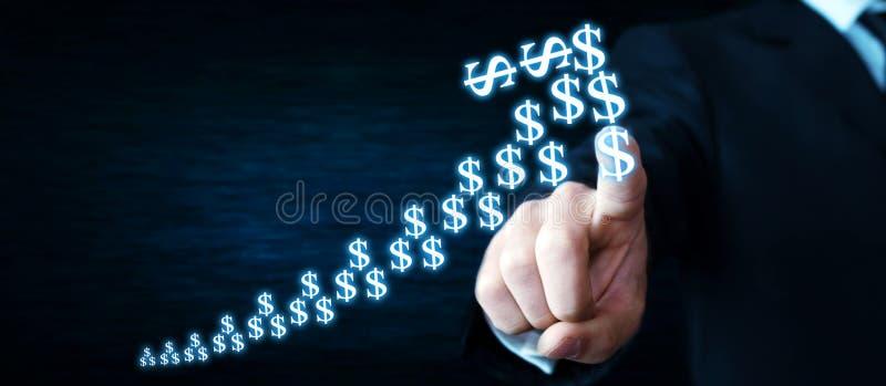 Mężczyzna wzruszający dolary strzałkowaci Waluta przyrosta pojęcie obraz stock