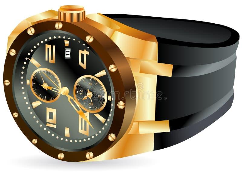 mężczyzna złoty zegarek ilustracji
