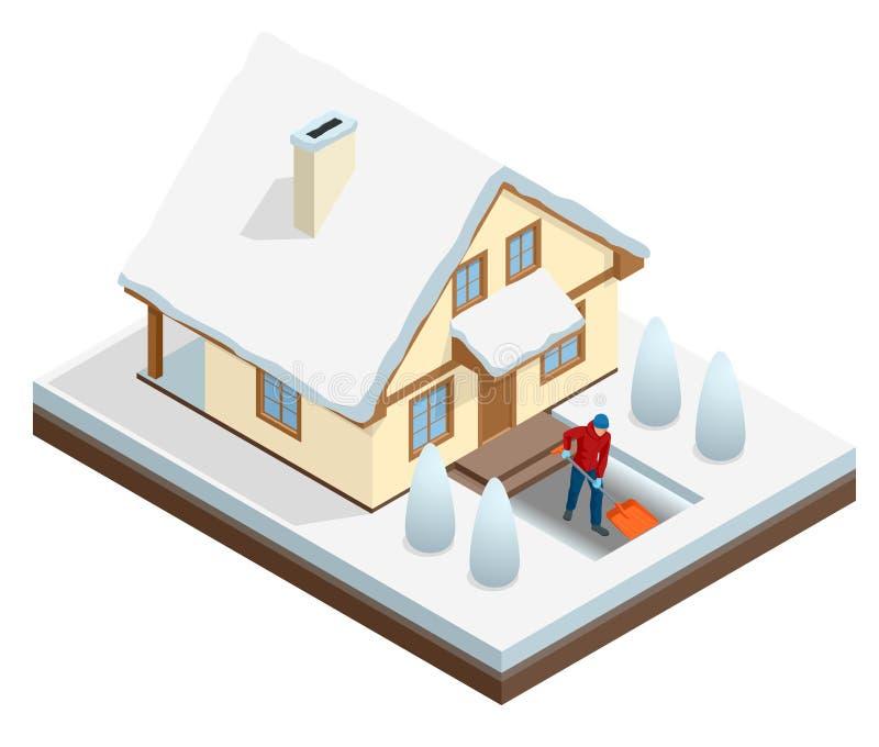 Mężczyzna z łopaty cleaning śniegiem wypełniał podwórka na zewnątrz jego domu Miasto po miecielicy w domu objętych śnieg _ ilustracji