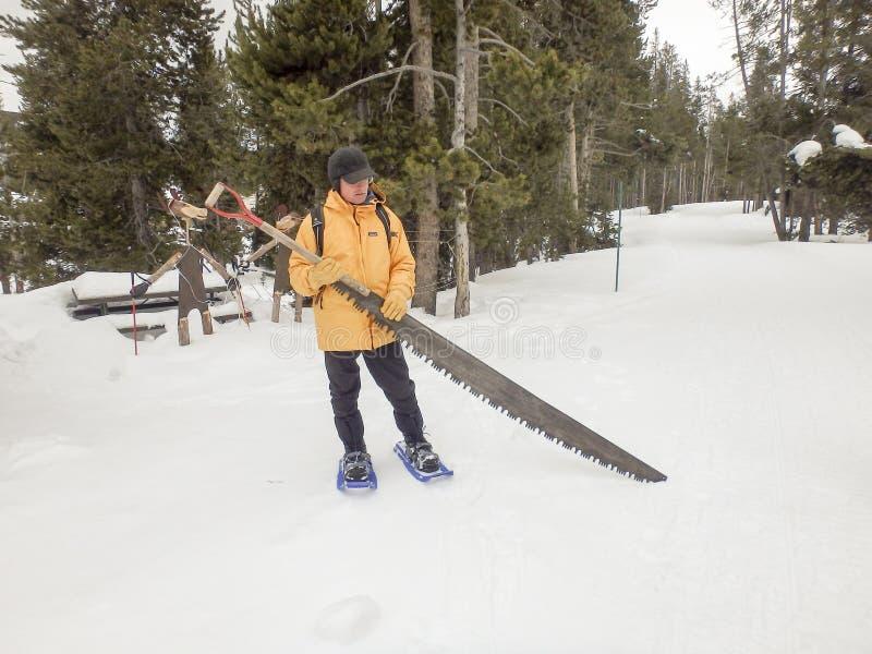 Mężczyzna z śnieżnym saw, Yellowstone park narodowy obrazy stock