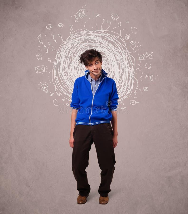 Mężczyzna z abstrakcjonistycznymi kółkowymi doodle liniami, ikonami i fotografia royalty free