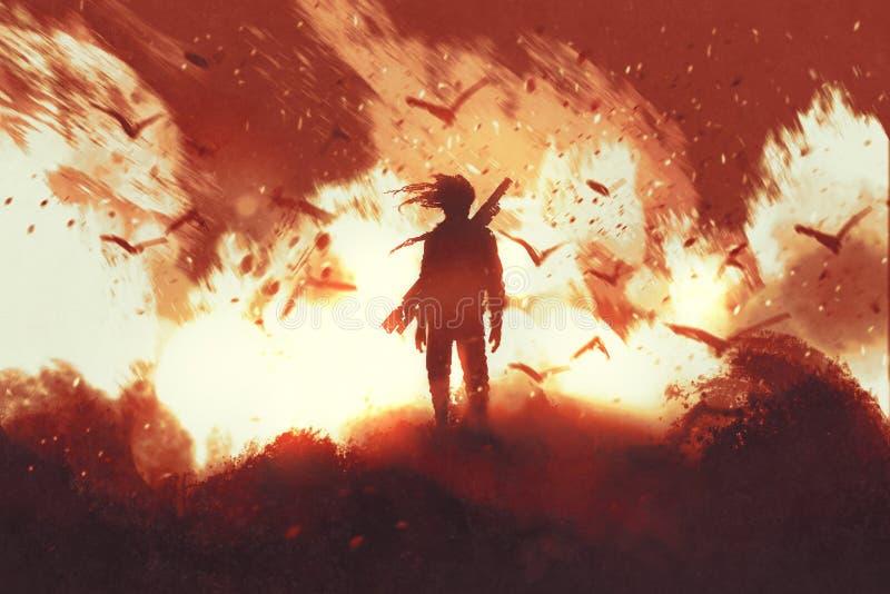 Mężczyzna z armatnią pozycją przeciw pożarniczemu tłu royalty ilustracja