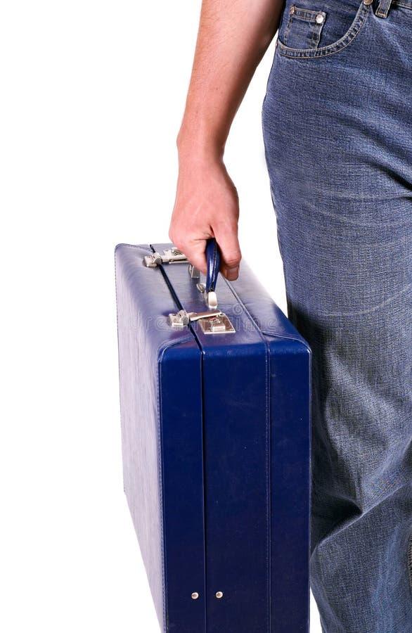 Mężczyzna z błękitny teczką zdjęcia stock
