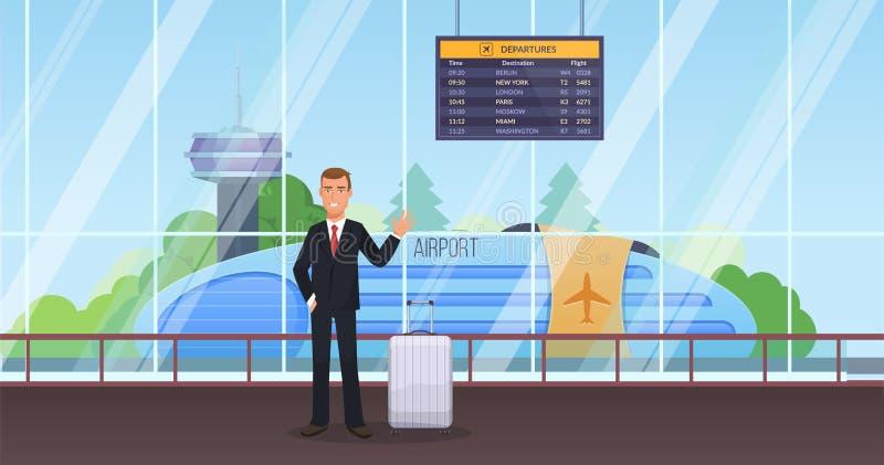 Mężczyzna z bagażem przy stacją w poczekalni, kuluarowy lotnisko royalty ilustracja