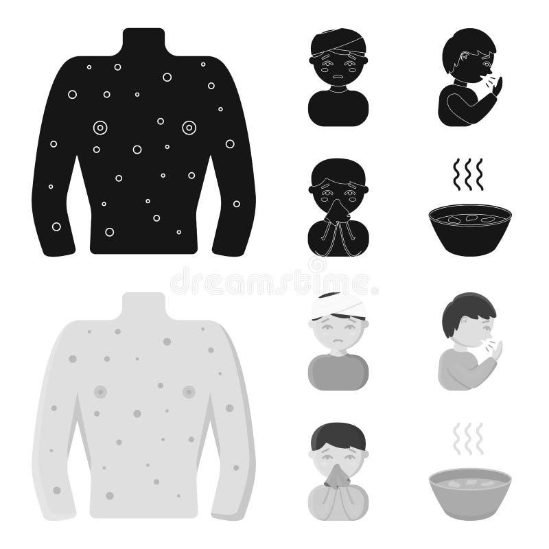 Mężczyzna z bandażującą głową, mężczyzna ka, mężczyzna parska gluta, puchar, puchar gorący rosół w chusteczkę choroba ilustracji