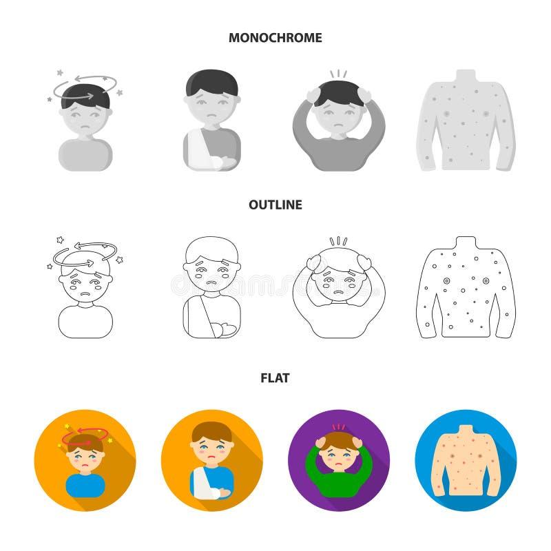 Mężczyzna z bandażującą głową, mężczyzna ka, mężczyzna parska gluta, puchar, puchar gorący rosół w chusteczkę choroba royalty ilustracja