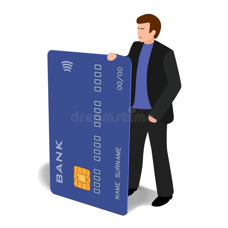 Mężczyzna z bank karty klamerki odosobnioną sztuką royalty ilustracja