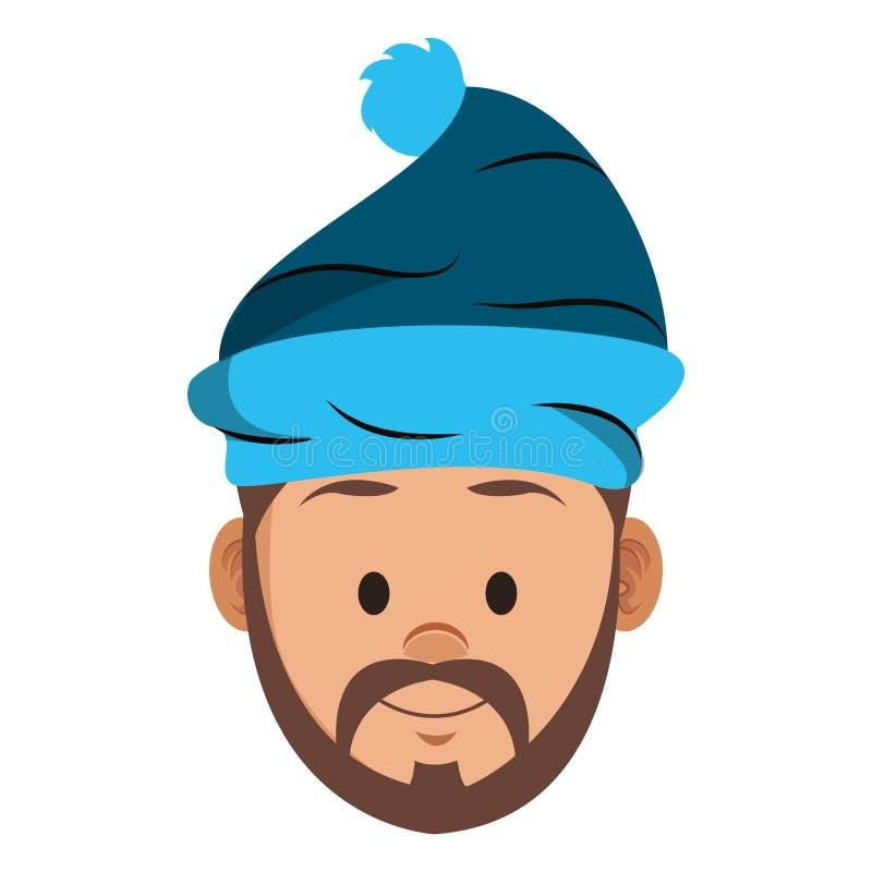 Mężczyzna z beanie kapeluszową twarzą ilustracja wektor