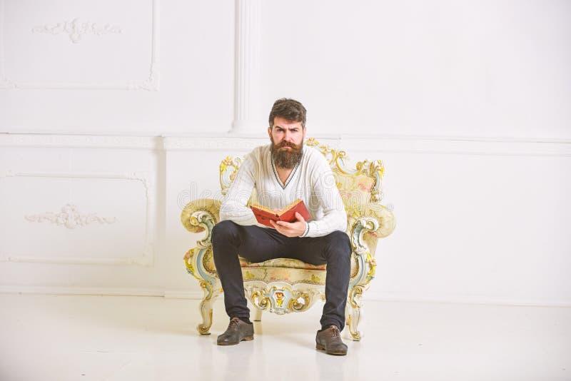 Mężczyzna z brodą i wąsy siedzi na karle i czytelniczej książce, bielu ścienny tło Macho mądrze wydaje czas wolnego z obraz royalty free