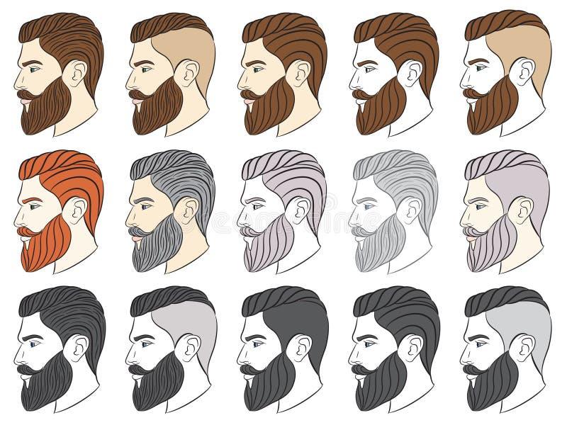 Mężczyzna z brodą, modniś ilustracja wektor