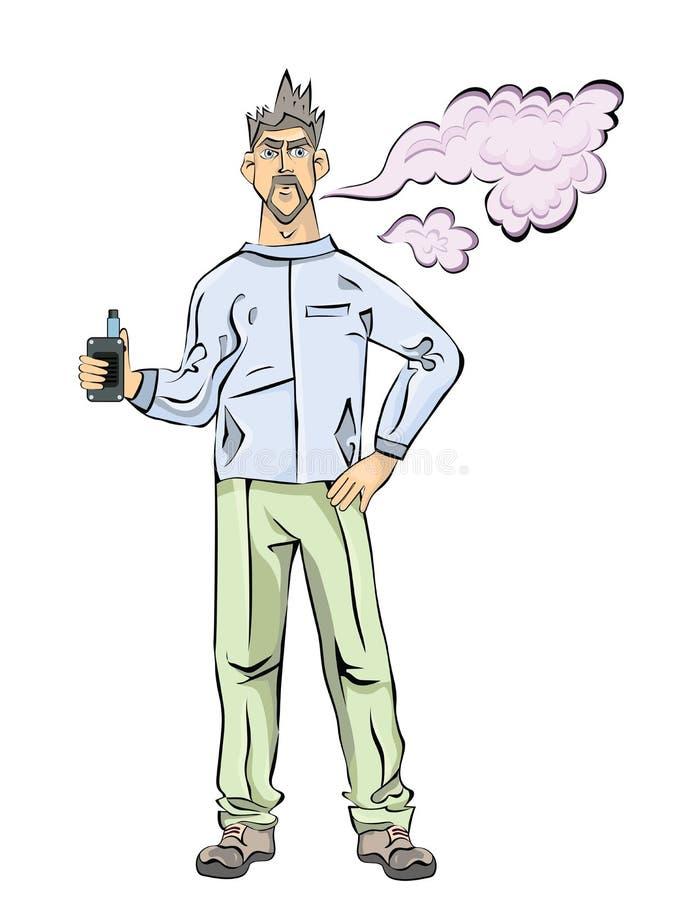 Mężczyzna z brodą vaping Chmura opary Wektorowa ilustracja, odizolowywająca na białym tle royalty ilustracja