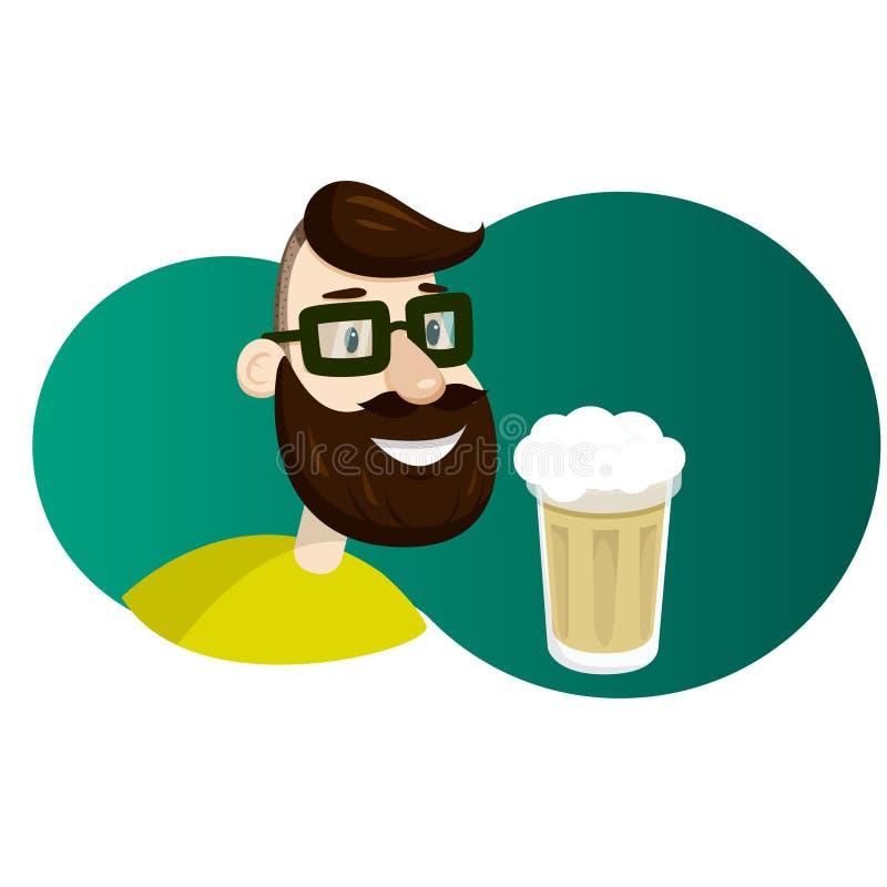 Mężczyzna z brodą w postaci chmielu wektoru ilustraci Rzemiosła piwa reklamy ilustracja wektor
