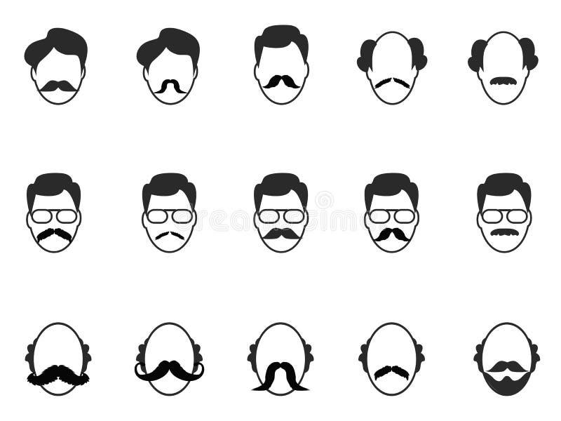 Mężczyzna z brody i wąsy ikonami ustawiać royalty ilustracja