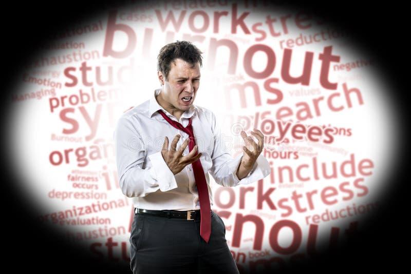 Mężczyzna z burnout syndromem fotografia stock