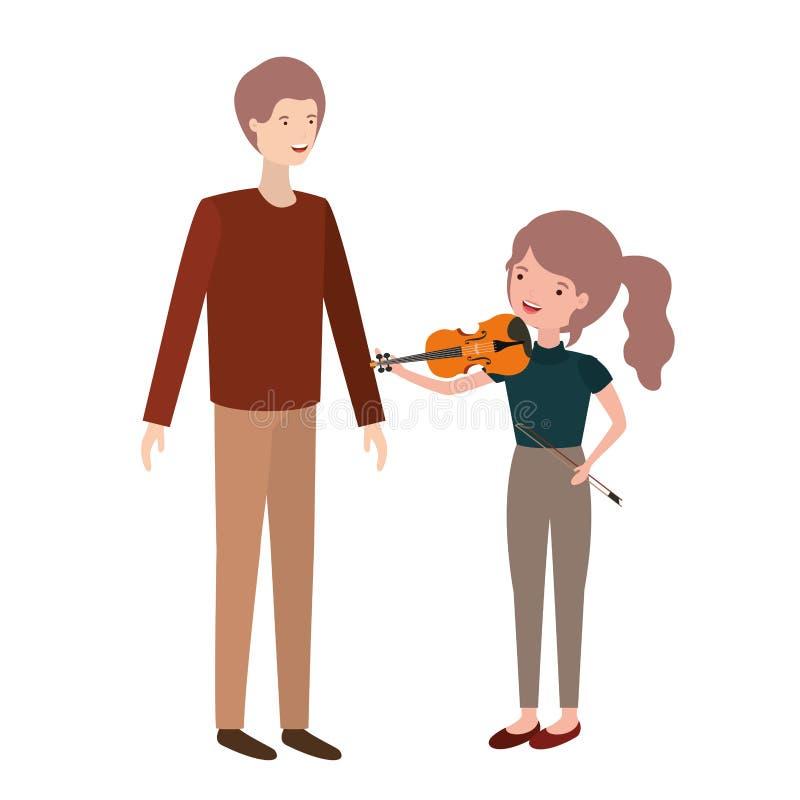 Mężczyzna z córki i skrzypki charakterem ilustracja wektor