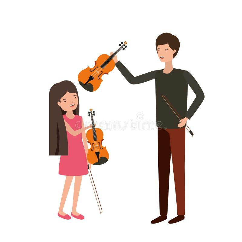 Mężczyzna z córki i skrzypki charakterem royalty ilustracja