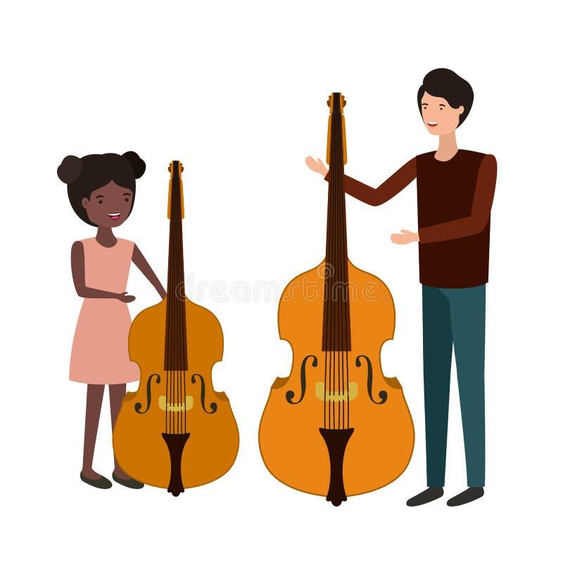 Mężczyzna z córki i skrzypki charakterem ilustracji