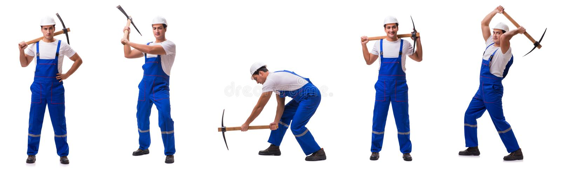 Mężczyzna z cioską odizolowywającą na bielu zdjęcie stock
