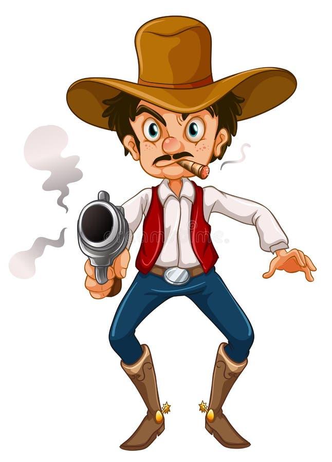 Mężczyzna z cygarem i pistoletem ilustracji