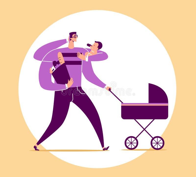 Mężczyzna z cztery rękami niesie dziecka, spacerowicza, torby z artykułami żywnościowy i rozmów na telefonie, Pojęcie wielofunkcy ilustracja wektor