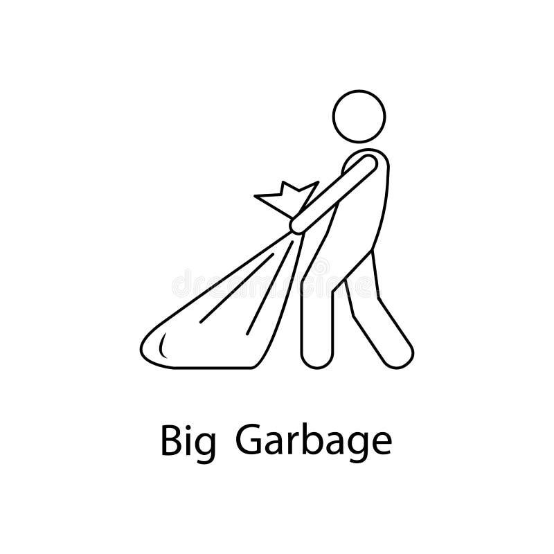 mężczyzna z dużą śmieciarską ilustracją Element osoba niesie dla mobilnych pojęcia i sieci apps Cienki kreskowy mężczyzna z dużą  royalty ilustracja
