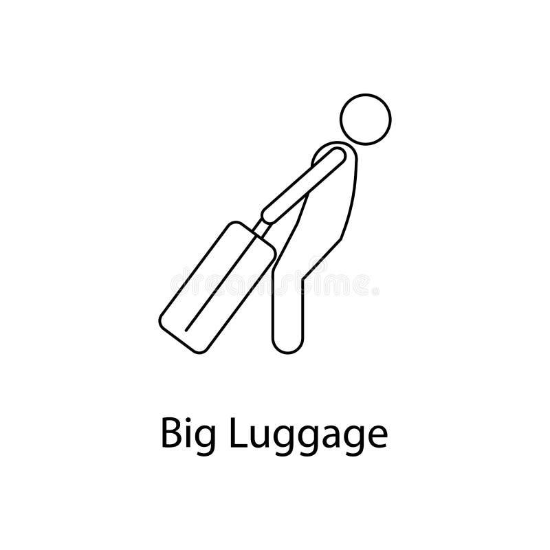 mężczyzna z dużą bagaż ilustracją Element osoba niesie dla mobilnych pojęcia i sieci apps Cienki kreskowy mężczyzna z dużą bagaż  royalty ilustracja