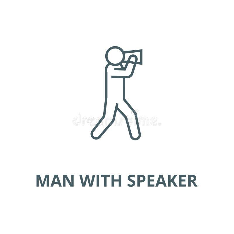 Mężczyzna z głośnikową wektor linii ikoną, liniowy pojęcie, konturu znak, symbol ilustracja wektor