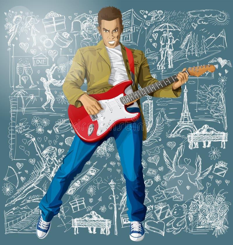 Mężczyzna Z gitarą Przeciw miłości tłu ilustracja wektor