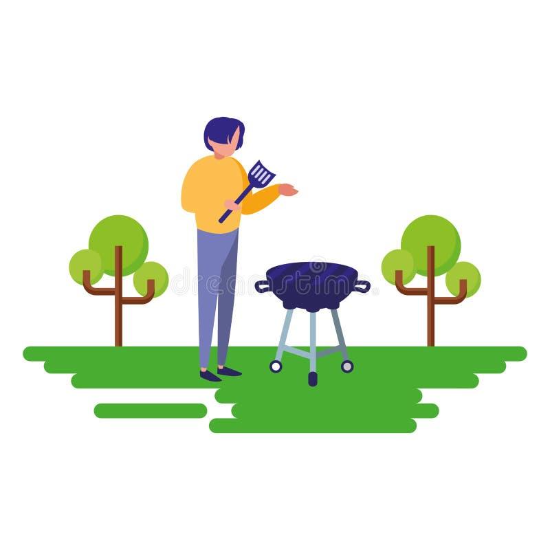 Mężczyzna z grilla grilla naturalny plenerowym royalty ilustracja