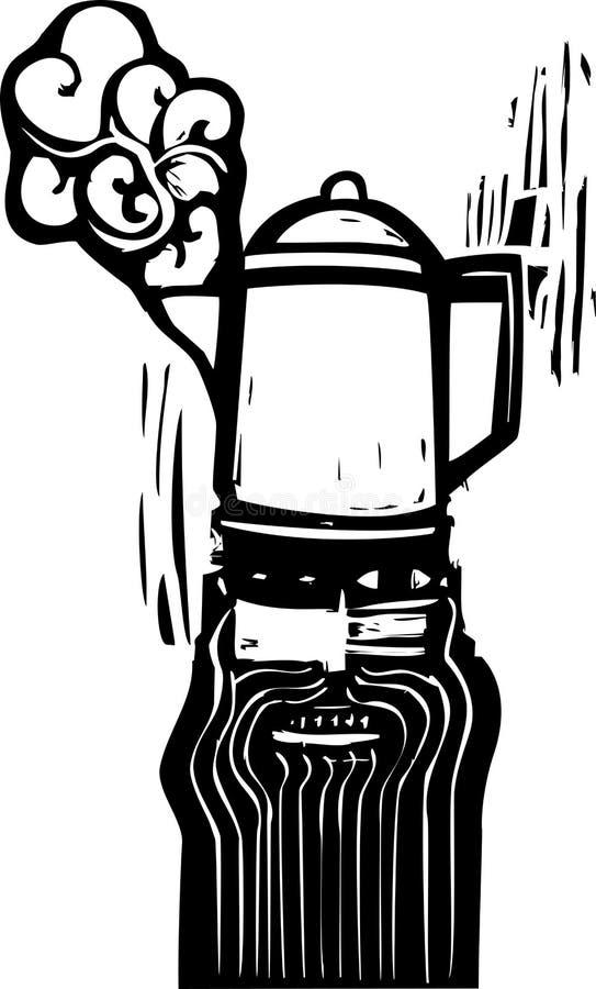 Mężczyzna z Kawowym Garnkiem ilustracja wektor
