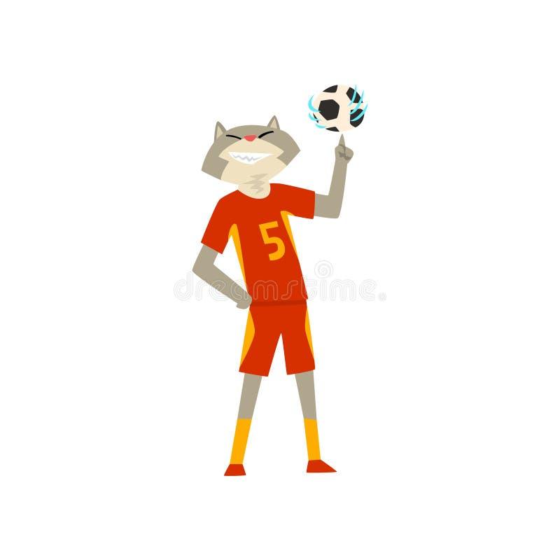 Mężczyzna z kota kierowniczy bawić się z piłką, zwierzęcy charakter jest ubranym sporty munduruje wektorową ilustrację na białym  royalty ilustracja
