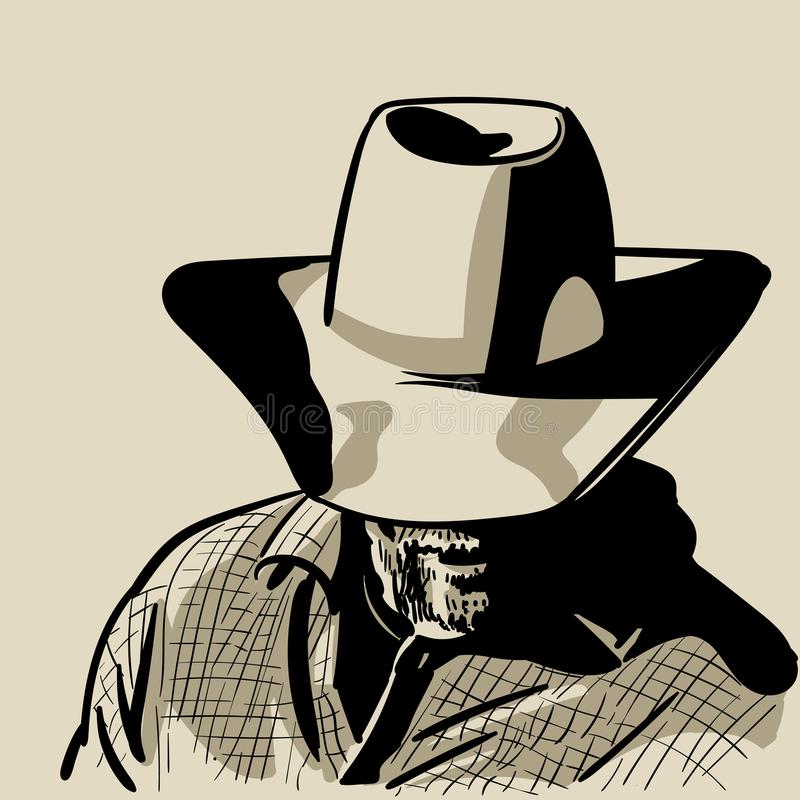 Mężczyzna z kowbojskim kapeluszem i w kratkę koszula western Portret Cyfrowego nakreślenia ręki Rysunkowy wektor ilustracja wektor