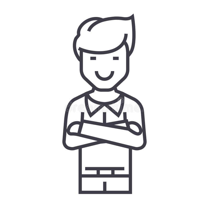 Mężczyzna z krzyżującą ręka wektoru linii ikoną, znak, ilustracja na tle, editable uderzenia royalty ilustracja