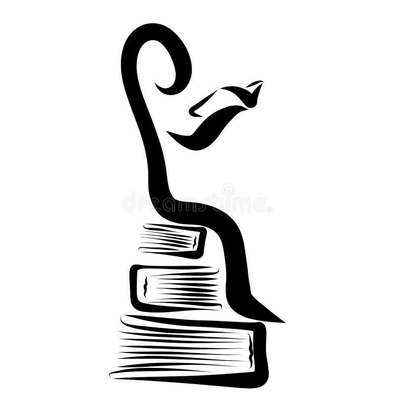 Mężczyzna z książką w jego rękach, siedzi na książkach, kreatywnie, logo ilustracji