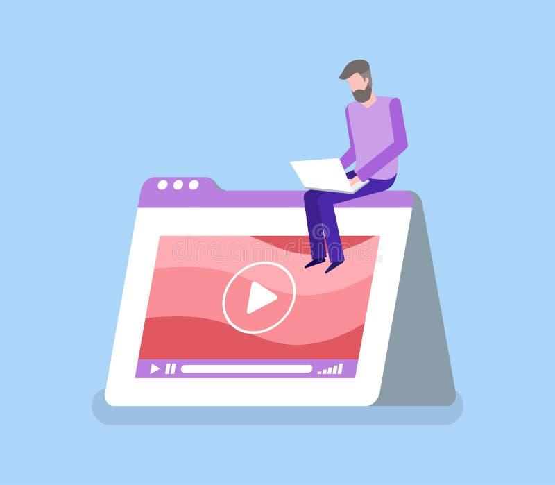 Mężczyzna z laptopem, interfejs odtwarzacz wideo wektor ilustracji