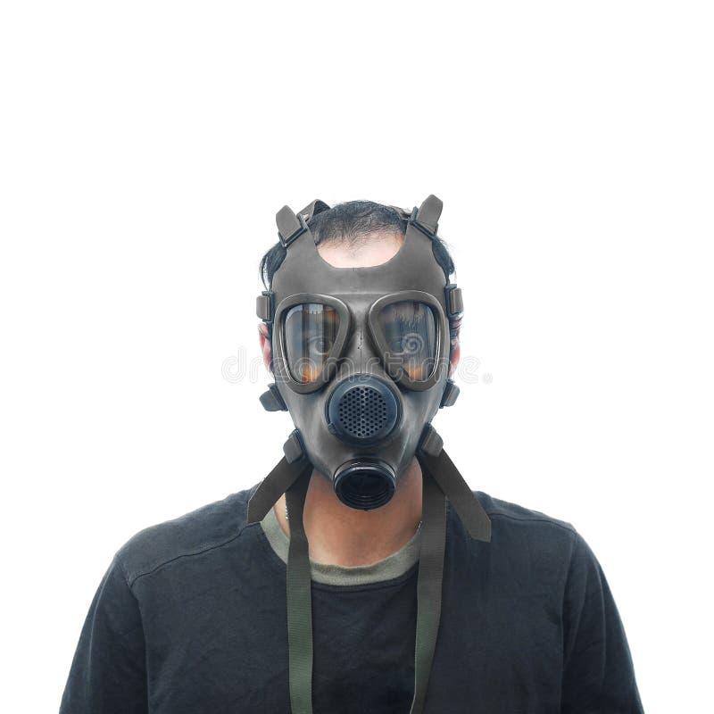 Mężczyzna z maską gazową fotografia stock