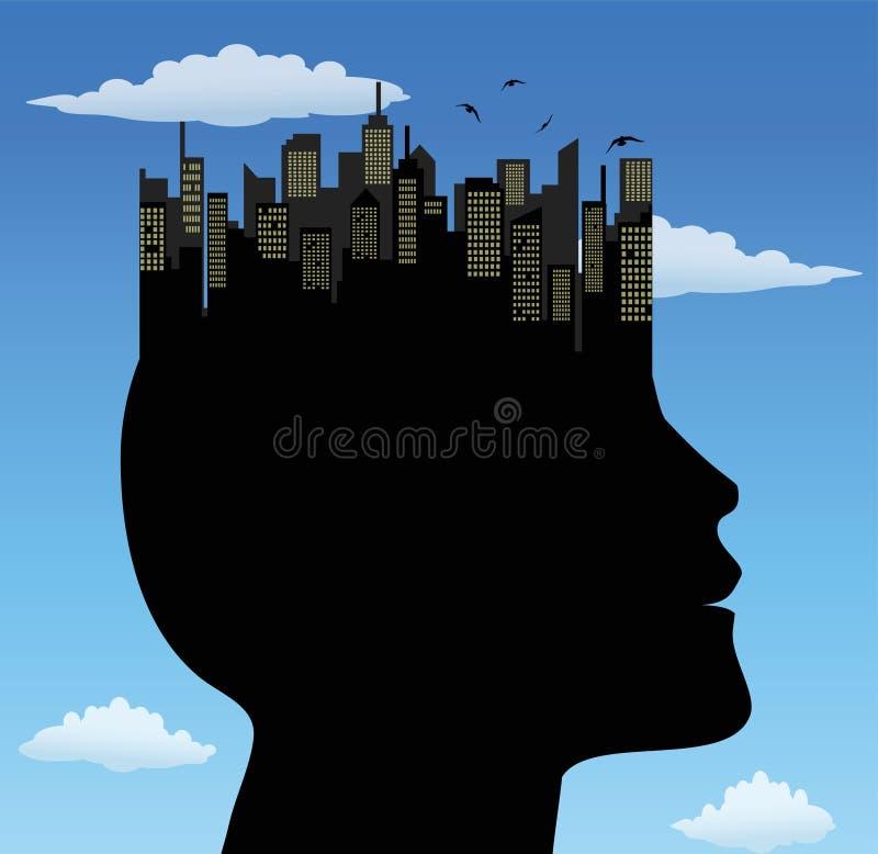 Mężczyzna z miastem na głowie royalty ilustracja
