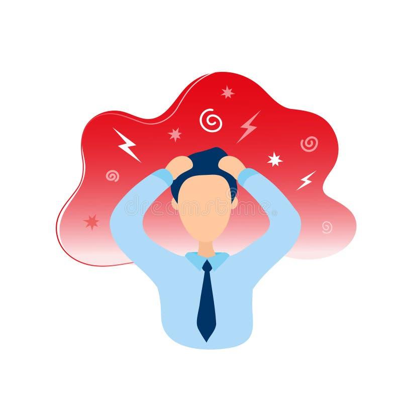 Mężczyzna z migreny mienia głową w rękach ilustracja wektor