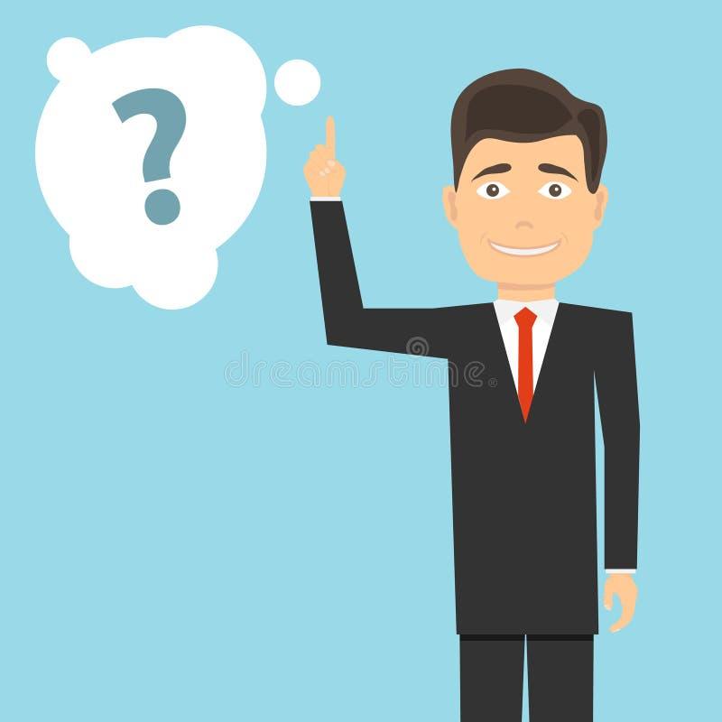 Mężczyzna z nastroszonym palcem wskazującym i znakiem zapytania Mężczyzna rozpamiętywa problem royalty ilustracja