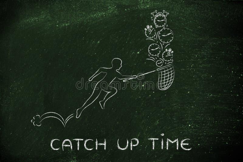 Mężczyzna z netto bieg zbierać zegary i alarmy, łapie w górę czasu fotografia stock