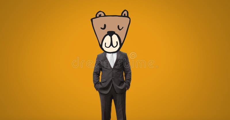 Mężczyzna z niedźwiadkową zwierzę głowy twarzą royalty ilustracja