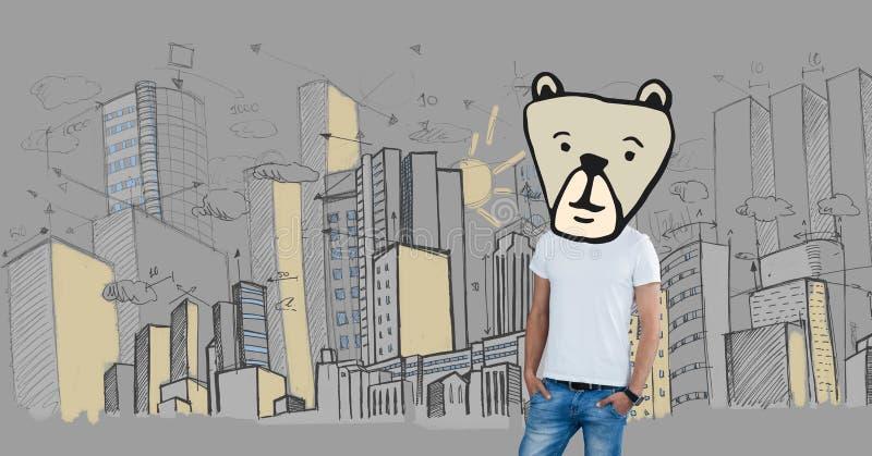 Mężczyzna z niedźwiadkową zwierzę głowy twarzą w mieście obrazy royalty free