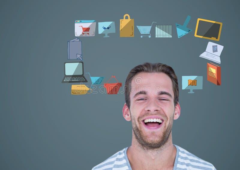 mężczyzna z online zakupy technologii grafika biznesowymi rysunkami royalty ilustracja